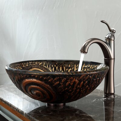 Luna Glass Vessel Sink and Riviera Faucet - C-GV-650-19mm-1005ORB