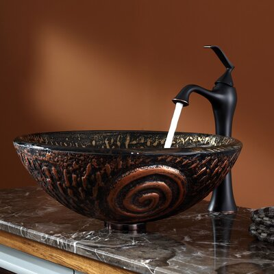 Kraus Luna Glass Vessel Sink and Ventus Faucet