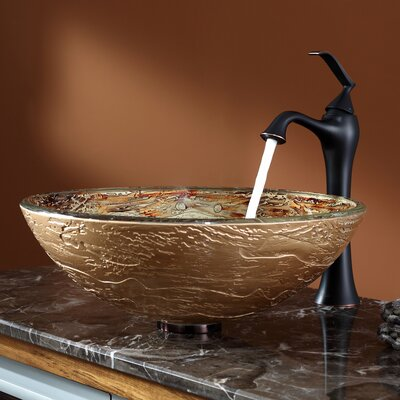 Ares Glass Vessel Sink and Ventus Faucet - C-GV-651-12mm-15000ORB