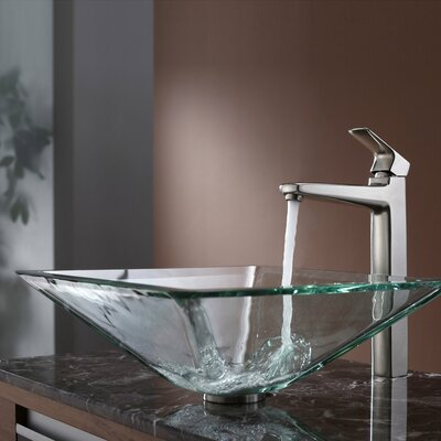 Kraus Virtus Aquamarine Glass Vessel Bathroom Sink with Faucet