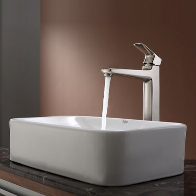 Virtus Rectangular Ceramic Bathroom Sink with Faucet - C-KCV-122-15500
