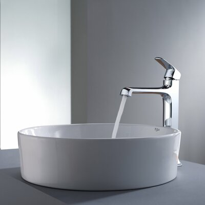 Decorum Round Ceramic Bathroom Sink and Faucet - C-KCV-140-15200CH