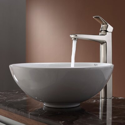 Kraus Virtus Round Ceramic Bathroom Sink with Faucet