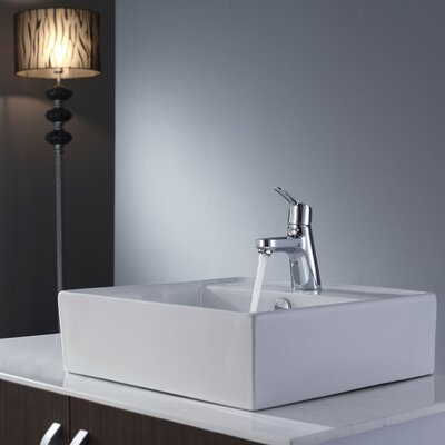 "Kraus 18.5"" Square Sink and Ferus Basin Faucet"