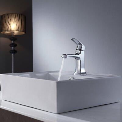 "Kraus 18.6"" W x 18.6"" L White Square Ceramic Sink and Decorum Basin Faucet"