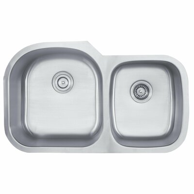 "Kraus 35.13"" x 20.75"" 6 Piece Undermount 55/45 Double Bowl Kitchen Sink"