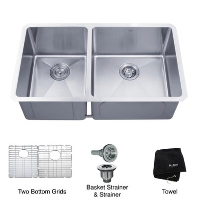 "Kraus 32.75"" x 19"" 6 Piece Undermount 60/40 Double Bowl Kitchen Sink"