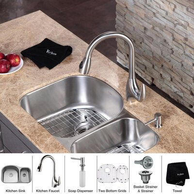 "Kraus 31.5"" x 20.5"" Undermount Double Bowl Kitchen Sink and Faucet with Soap Dispenser"