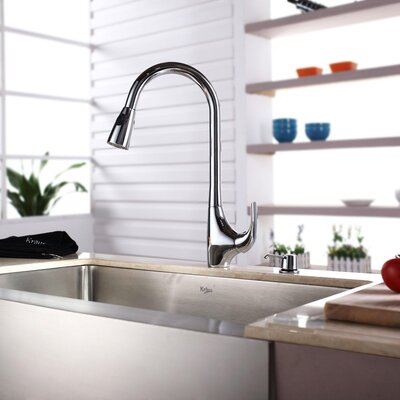 "Kraus 30"" x 16"" Farmhouse Single Bowl Kitchen Sink with Faucet and Soap Dispenser"