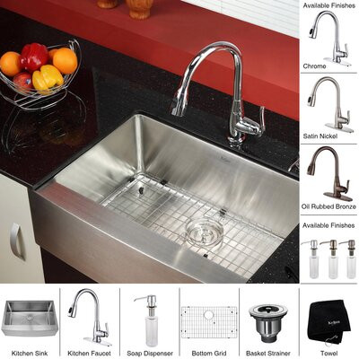 "Kraus 29.75"" x 20"" Farmhouse Kitchen Sink with Faucet and Soap Dispenser"