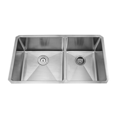 "Kraus 32.75"" x 19"" x 10""  8 Piece Undermount Double Bowl Kitchen Sink Set"