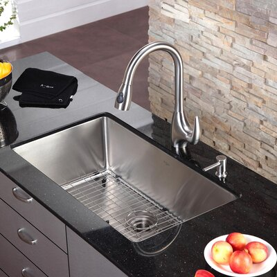 "Kraus 32"" x 19"" Undermount Single Bowl Kitchen Sink and Faucet with Soap Dispenser"
