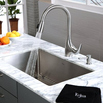"Kraus 30"" x 18"" 6 Piece Undermount Single Bowl Kitchen Sink Set"
