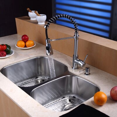 "Kraus 32"" x 20.75"" Undermount 60/40 Double Bowl Kitchen Sink with 20"" Faucet and Soap Dispenser"