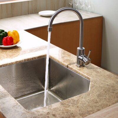 "Kraus 23"" x 18.75"" x 10"" Undermount Kitchen Sink with Kitchen Faucet and Soap Dispenser"