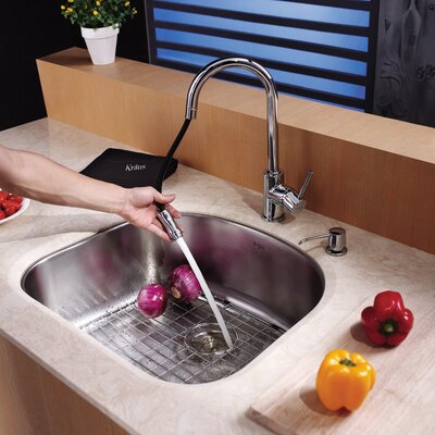 Kraus Single Handle Single Hole Kitchen Faucet with Lever Handle with Pull Down Hose