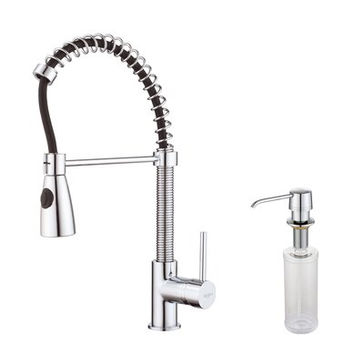Kraus One Handle Single Hole Kitchen Faucet with Soap Dispenser and Pull Out Sprayer