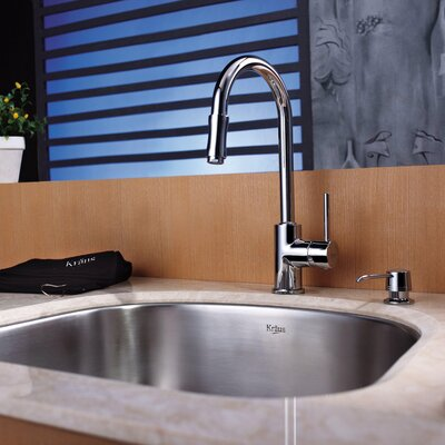 "Kraus 21.25"" x 18.9"" Undermount Single Bowl Kitchen Sink with 15"" Faucet and Soap Dispenser"