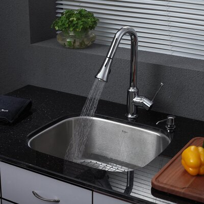 "Kraus 20.75"" x 17.75"" Single Bowl Kitchen Sink with Faucet and Soap Dispenser"