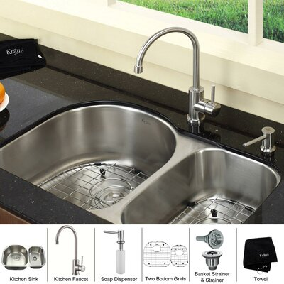 "Kraus 30"" x 19.5"" 8 Piece Undermount Double Bowl Kitchen Sink Set"