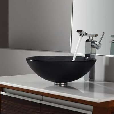 Kraus Bathroom Combos Glass Single Hole Bathroom Sink with Single Handle Faucet