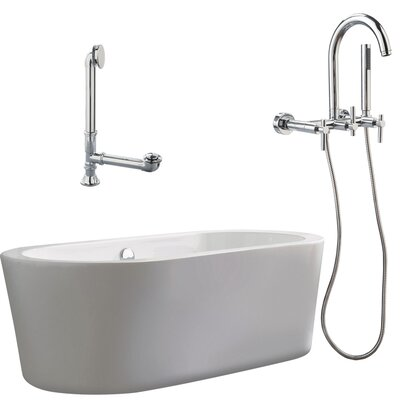 Giagni Ventura 67&quot; Apron Tub with Wall Mount Faucet and Lever Handles in Polished Chrome
