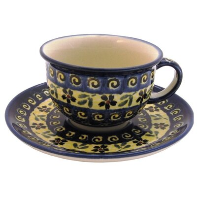 Euroquest Imports Polish Pottery 8 oz. Coffee Cup and Saucer