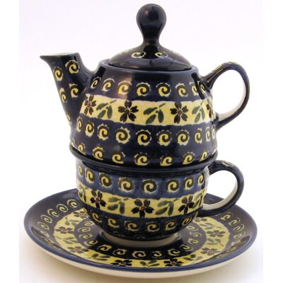 Euroquest Imports Polish Pottery 10 oz Tea for One Teapot & Saucer - Pattern 175A