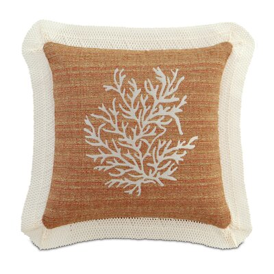 Caicos Polyester Embroidered Coral Decorative Pillow