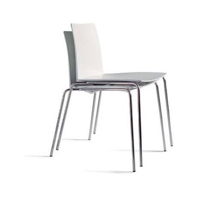 Moroso Leaf Stacking Armless Chair in White / Chrome by Carlo Colombo