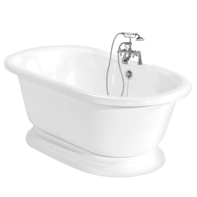 "American Bath Factory Beacon Hill 70"" x 32"" AcraStone Double Ended Champagne Massage Bathtub"