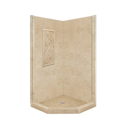 American Bath Factory Basic Neo Angle Shower Base and Shower Wall