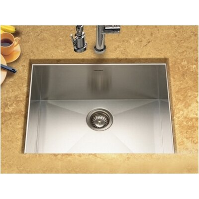 Houzer Contempo Zero Radius Undermount Single Bowl Kitchen Sink in Brushed Satin