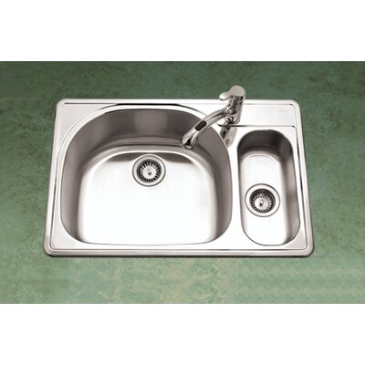 Houzer Premiere Reflection Topmount Double Bowl 80/20 Kitchen Sink