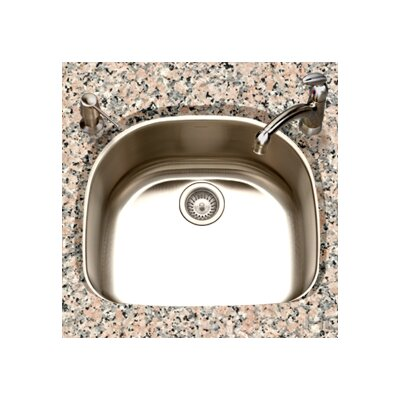 "Houzer Eston 23.44"" x 20.88"" Undermount D Shape Single Bowl Kitchen Sink"