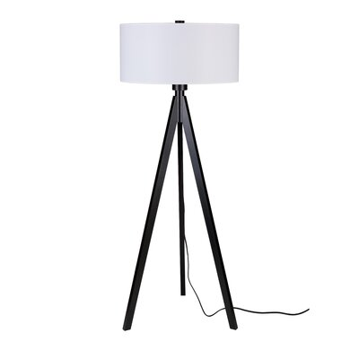 """Lights Up! Woody 26"""" H Table Lamp with Drum Shade"""