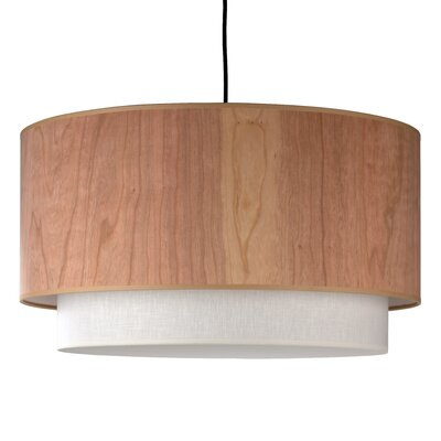 "Lights Up! 24"" Woody Drum Pendant Lamp"