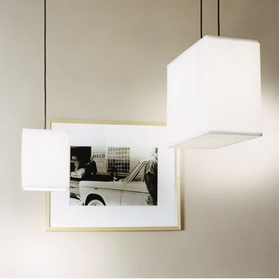 Lights Up! Rex Small Square Pendant Lamp with Canopy in Brushed Nickel