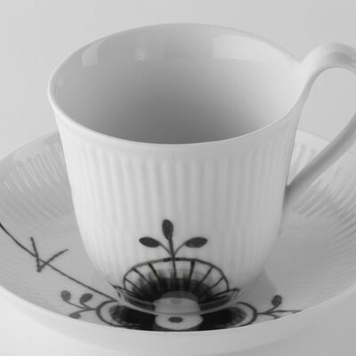 Royal Copenhagen Black Fluted Mega 8.25 oz. Cup and Saucer