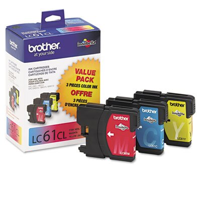 Brother Lc613Pks (Lc-61) Ink, 500 Page-Yield, 3/Pack