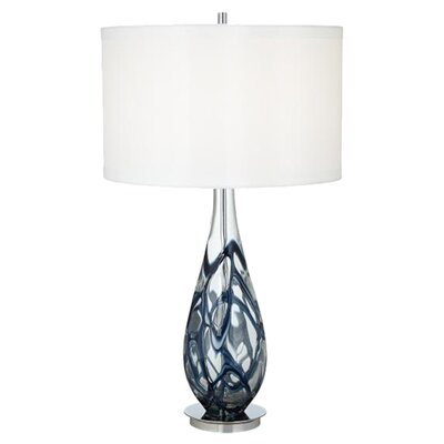 "Pacific Coast Lighting PCL Indigo Swirl Art Glass 33.5"" H Table Lamp with Drum Shade"