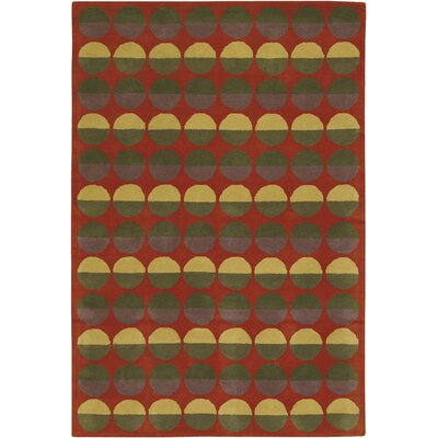 Chandra Rugs Rowe Red Circle Rug
