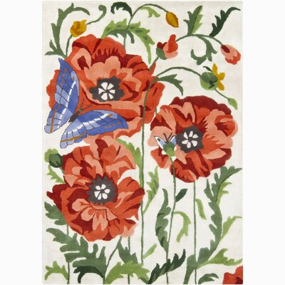 Chandra Rugs Bajrang Flower & Butterfly Rug