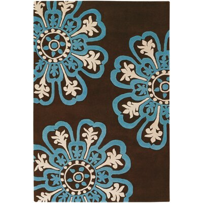 Chandra Contemporary Dark Brown/Blue Designer Rug