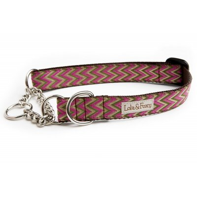 Lola and Foxy Fuchsia Chevron Martingale Dog Collar