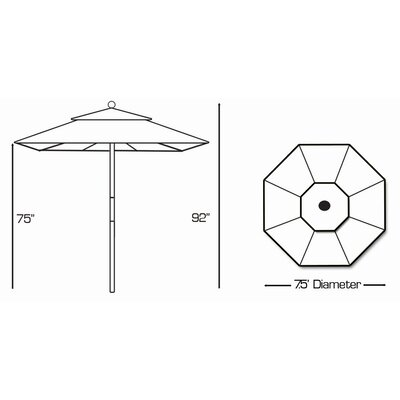 Galtech International 7.5' Wood Market Umbrella