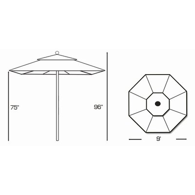Galtech International 9' Designer Teak Market Umbrella