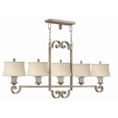 Fredrick Ramond Kingsley 5 Light Linear Chandelier in Silver Leaf