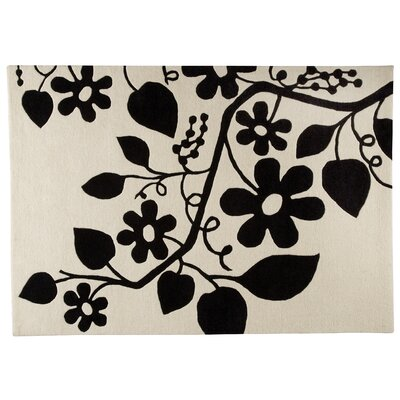 Hokku Designs Flora White/Black Rug