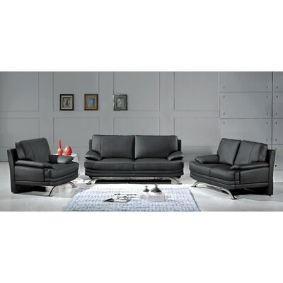 Hokku Designs Phoenix 3 Piece Leather Sofa Set
